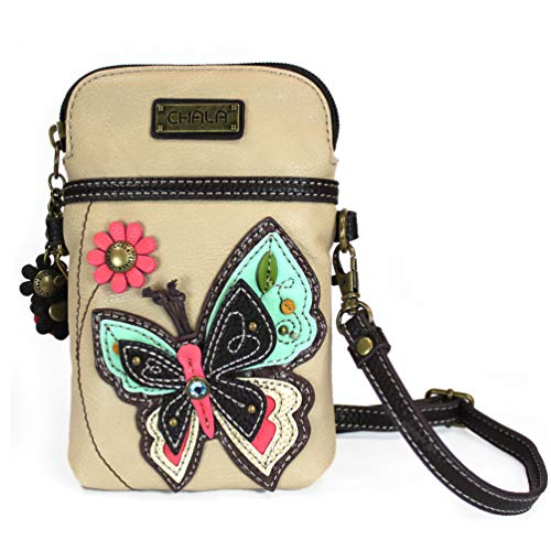 Chala Crossbody Cell Phone Purse - Women PU Leather Multicolor Handbag with Adjustable Strap - Butterfly - Ivory