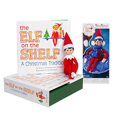 The Elf on the Shelf: A Christmas Tradition Boy Scout Elf (Blue Eyed) with Claus Couture Collection Totally Tubular Snow Set (Elf On The Shelf A Christmas Tradition)
