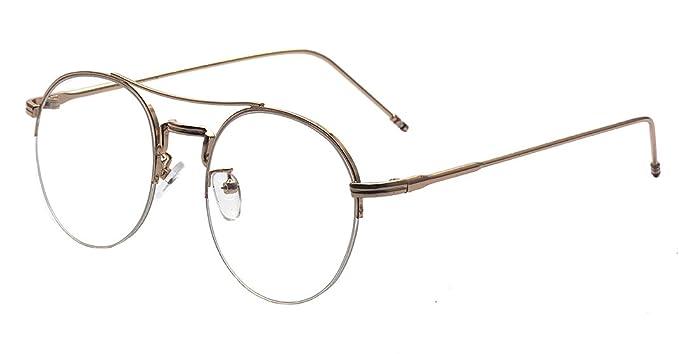 322b228eeb Kelens Vintage Retro Classic Half Metal Frame Round Eye Clear Lens Glasses  for Women