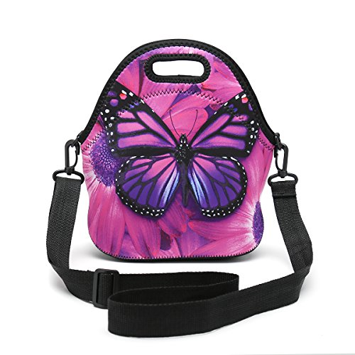Butterfly Lunch Bag (Insulated Neoprene Lunch Bag Removable Shoulder Strap Reusable Thermal Thick Lunch Tote Bags For Women,Teens,Girls,Kids,Baby,Adults-Lunch Boxes For Outdoors,Work,Office,School (Purple Butterfly))