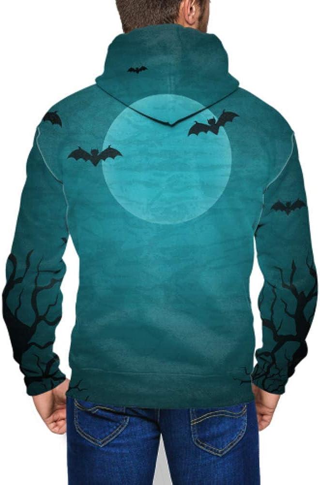 GUJGK Long Sleeve Hoodie Print Halloween with Moon and Bats Jacket Zipper Coat Fashion Mens Sweatshirt Full-Zip S-3xl
