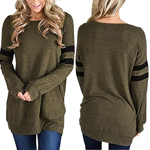 - haoricu Women Blouse, Womens Stripe Crew Neck T Shirt Long Sleeve Solid Sweatshirt Pullover Tops (M, Green)