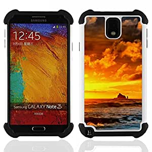 """SAMSUNG Galaxy Note 3 III / N9000 / N9005 - 3 en 1 impreso colorido de Altas Prestaciones PC Funda chaqueta Negro cubierta gel silicona suave (Sunset Rocks"""")"""