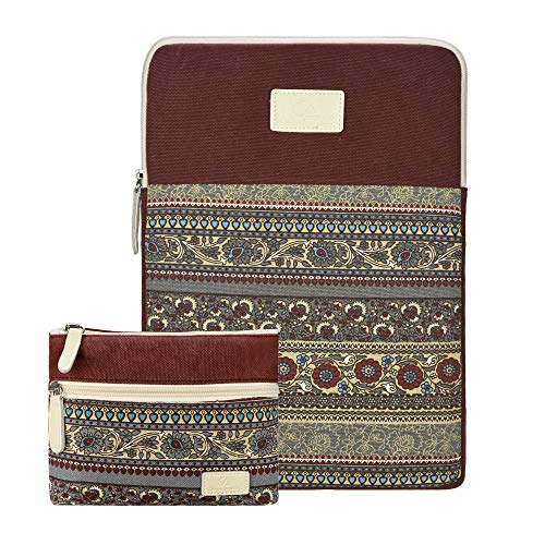 CASE STAR 13-13.3 inch Laptop Sleeve Cover Bohemian Canvas Bag Compatible 2018 New MacBook Air 13 A1932 Retina Display/MacBook Pro 13 A1706 A1708 MacBook Air A1369 A1466 with Small Case (Wine red)