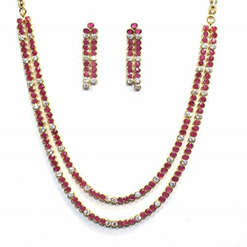 Jewelshingar Jewellery Cubic Zirconia Necklace Set For Girls ( 17401-nad-ruby ) by Jewelshingar