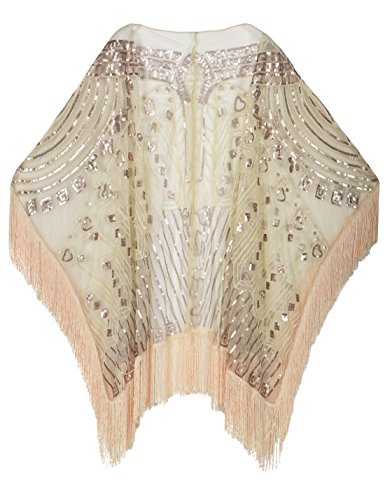 - PrettyGuide Women's Evening Shawl Beaded 1920s Cape Poncho Fringed Cover Up Champagne beige
