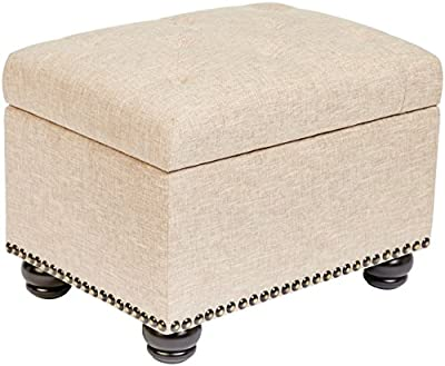 First Hill Callah Rectangular Fabric Storage Ottoman with Tufted Design