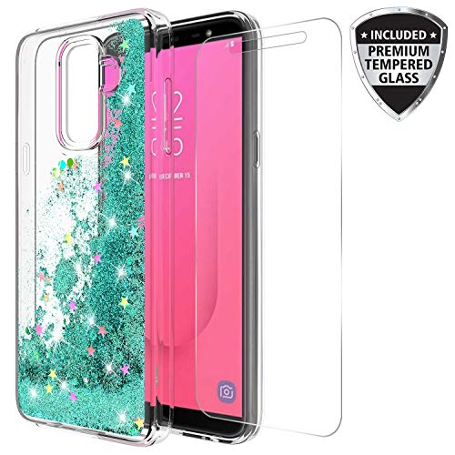 Samsung Galaxy J8 2018 Case with Tempered Glass Screen Protector, Rosebono Quicksand Glitter Sparkly Bling Liquid Shiny Clear Soft TPU Bumper Protective Cover for Samsung J8 (Teal)