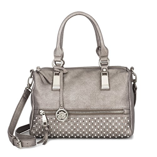Sonnet + Rose Women's Handbag Faux Leather Metallic Pewter Studded Vegan Ladies Large Tote with Brushed Silver Metal Accents