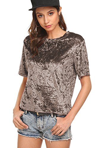 BLUETIME Women Short Sleeve Crew Neck Casual Solid Velvet Vintage T-Shirt (M, Coffee)