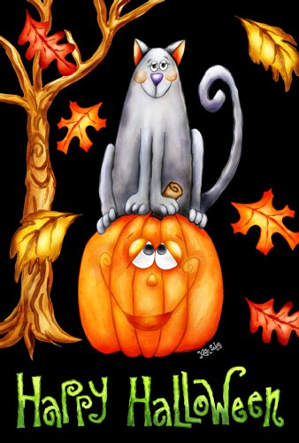 Toland Home Garden Pumpkin Cat 12.5 x 18 Inch Decorative Happy Halloween Autumn Leaves Kitty Jack-O-Lantern Garden Flag]()