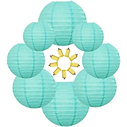 Neo LOONS Tiffany Blue Round Chinese/Japanese Paper Lanterns Metal Framed Hanging Lanterns-- Assorted Sizes--Birthday/Wedding/Christmas/Ceiling Party Supplies Favors Hanging Decoration