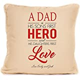 Personalised Dad Sons First Hero Daughters First Love Quote Cushion Perfect Fathers Day Gift red by fourleafcloverprint