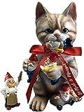 By Mark & Margot - Mischievous Cat Garden Gnome Statue Figurine - Best Art Décor for Indoor Outdoor Home Or Office - Orange