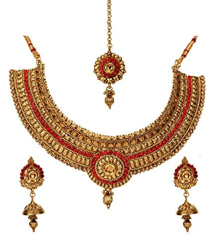 Bindhani Bollywood Jewelry Indian Wedding Kundan Choker Necklace Set Jhumki Earrings Tikka for Women