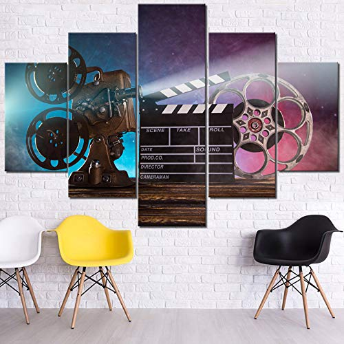 (5 Piece Canvas Wall Art Film Claper Vintage Paintings for Living Room Movie Reel and Camera Pictures Smoke Effect Artwork Modern House Decor HD Prints Framed Gallery-Wrapped Ready to Hang(60''Wx40''H))