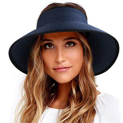 Sun Visor Hats for Women Wide Brim Straw Roll Up Ponytail Summer Beach Hat UV UPF Packable Foldable Travel FURTALK (One Size, New-Navy Black ()