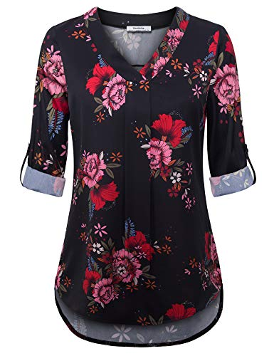 Youtalia Floral Chiffon Blouse, Womens Casual Chiffon 3/4 Sleeve Tops Pleated V Neck Flared Hem Floral Blouse Shirt Tops (Black Red Large)