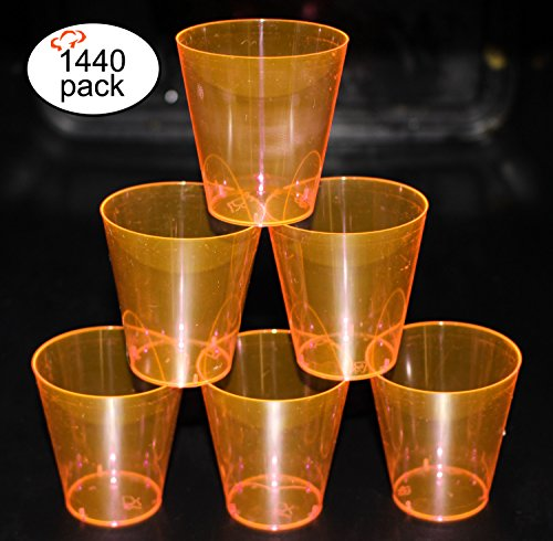 (Tiger Chef Neon Shot Glasses Hard Plastic Disposable Shot Glasses 2 Oz - Awesome Birthday, Party, Wedding Black Light Shot Glasses, 1440-Count Neon)