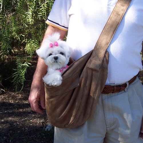 Luxesuede Cuddle Carrier for Dogs by Susan Lanci Designs (Fawn)