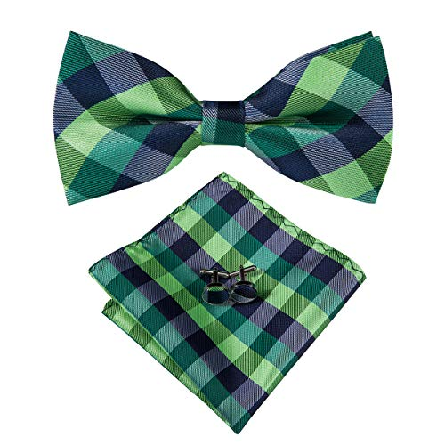 Dubulle Black and Green Plaid Bowties and Pocket Square for Men with Cufflinks