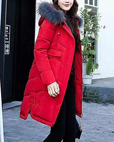 Rouge En Matelassé Et Long À Vert Femmes Cargo Oudan Fourrure Avec Col L Fausse Pour Foncé coloré Parka Manteau Poches Taille 50Hwqaqx7E
