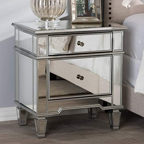 Baxton Studio Hollywood Regency Glamour Style 2-Drawer Nightstand