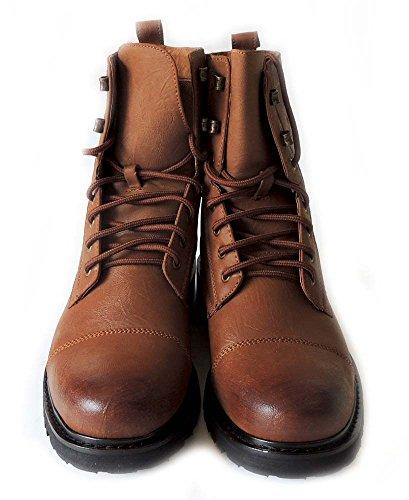 Nye Polare Fox Menns 8 Premium Militær Kamp Stilige Robust Skinn Blonder-up Boots Gummisåle Mpx508002 / Brun
