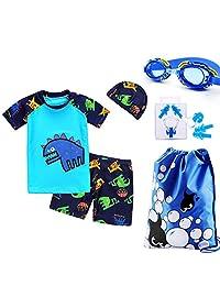 Monvecle Boys' 6-Pieces Short Sleeve Rash Guard Swimsuit Set with Swim Cap UPF 50+