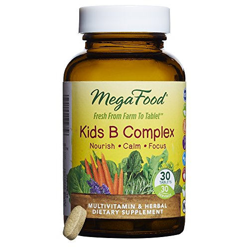 MegaFood - Kid's B Complex, Promotes a Sense of Calm, Energy Production, and Nervous System Health with L-Theanine, Choline, and B Vitamins, Vegan, Gluten-Free, Non-GMO, 30 Tablets by MegaFood