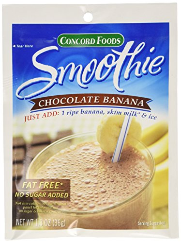 Concord Foods Chocolate Banana Smoothie Mix, 1.3 oz Pouch (VALUE Pack of 18 Pouches)