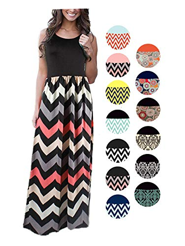 (LIYOHON Women's Summer Chevron Striped Print Dress Tank Long Maxi Dresses for Women Black-B-XXL )