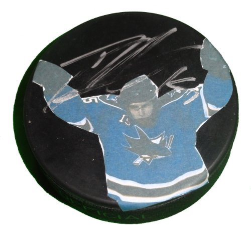 San Jose Sharks Dany Heatley Autographed Hand Signed SJ Sharks Photo Ice Hockey Puck with Proof Photo of Signing and COA