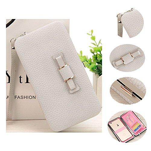 Aeeque Mode Schleife Design multifunktionale Abendtasche Partytasche Handschlaufe Geldbeutel Handgelenktasche Unterarmtasche Handytasche Grau