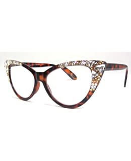 ad28662fdb9 Burmese Swarovski Cat Eye Reading Glasses Tortoise Brown (Tortoise Frame  with Crystal   Light Colorado