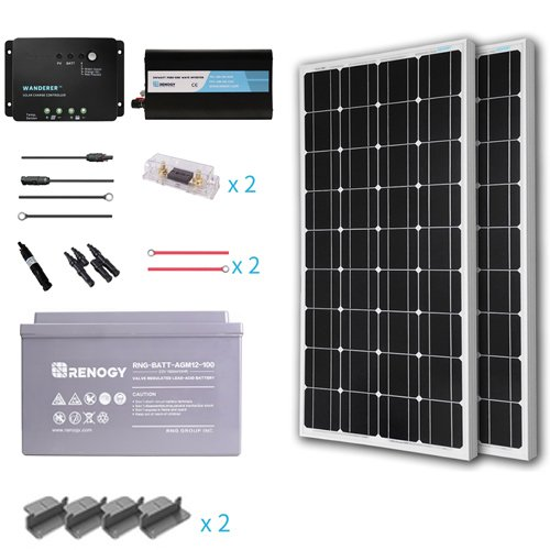 Renogy 200 Watts 12 Volt Complete Solar Panel kit Monocrystalline with Charge Controller +Mounts+ 100AH AGM Battery+ 500W Pure Sine Wave Inverter
