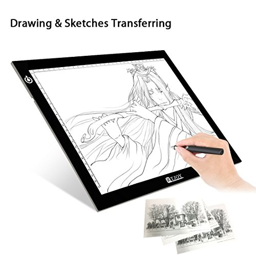 RTjoy Tracing Light Pad A4 Ultra-Thin LED Light up Box Tracer Portable Light Table Dimmable Brightness LED Artcraft Tracing Light Pad for Artists Drawing Sketching Animation Stencilling X-ray Viewing