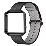 Fitbit Blaze Bands with Metal Frame,CHEEDAY Fitbit Blaze Nylon Weave with Comfortable Fabric-like Feel Watch Strap Accessories for Fitbit Blaze Watch (Black)