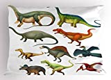 Ambesonne Dinosaur Pillow Sham, Various Different Ancient Animals from Jurassic Period Cartoon Collection Mammals, Decorative Standard Size Printed Pillowcase, 26 X 20 inches, Multicolor