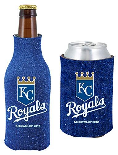 MLB Baseball Team Logo Womens Glitter Bottle & Can Cooler Set 12oz Neoprene Beverage Drink Holder Sleeve (Kansas City Royals) ()