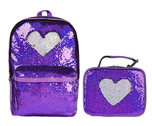 Fashion Flipper Sequins Backpack& Reversible Sequin Lunch Box Cute Insulted Lunch Bag Tote for Girls Women, Set of 2 (Purple/Sliver)