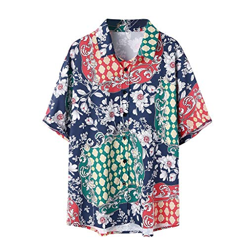 Shirt for Men Ethnic Style Floral Printed Stand Collar Colorful Short Sleeve Loose Casual Button Hawaiian Shirt