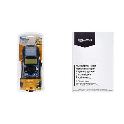 Dymo LetraTag LT-100H - Impresora de etiquetas, color azul (versión española) & AmazonBasics Papel multiusos para impresora A4 80gsm, 1 paquete, 500 ...