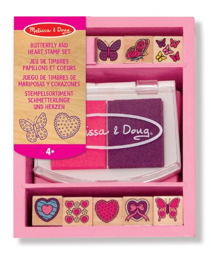 (Butterfly & Heart Themed Wooden Stamp Set + FREE Melissa & Doug Scratch Art Mini-Pad Bundle [24150])
