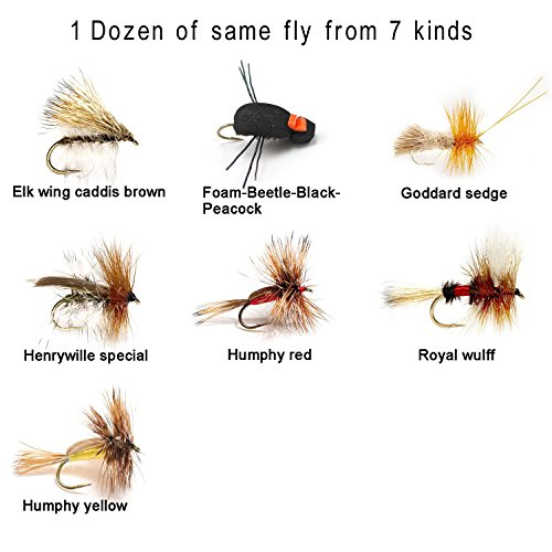 Aventik 12 Pieces Top Rating Caddis Flies Dry Fly Fishing Flies Trout Fly Assortment super sturdy Flies realistic look (#14, Humphy yellow)