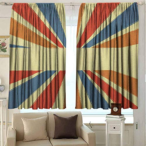 AFGG Outdoor Curtains Vintage Rainbow Hand Drawn Style Burst of Colorful Sunbeams with Grunge Effect Retro Design Insulated with Curtains for Bedroom 55 W x 72 L Inches Multicolor ()