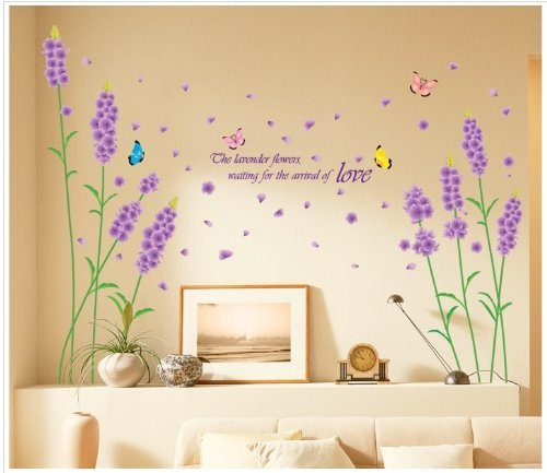 (Beautiful Large Long Stem Lavender Flowers with Butterflies Waiting for the Arrival of Love Wall Decals)