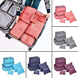 wangxiyan 5 Colors 6Pcs Waterproof Travel Storage Bags Clothes Packing Cube Luggage Organizer Pouch(Blue,one size)