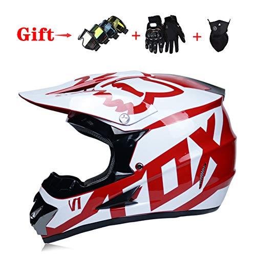 MIRC Offroad Motorcycle Helmet Adult Mountain Bike Full Breathable Helmet,Red,M