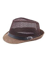 AOBRITON Sombrero de paja de verano de paja de vacuno hueca de malla  transpirable Panamá playa jazz sombrero… bc74cff9b60